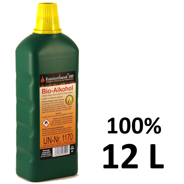 Bioethanol 100% in der 1-L-Flasche mit Kindersicherung